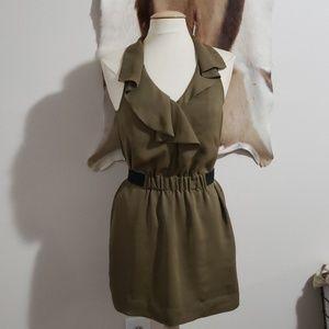 Olive green halter racerback mini dress